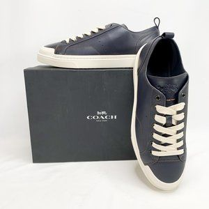 COACH C114 Lo Top Sneaker Navy 11 D Mens Leather